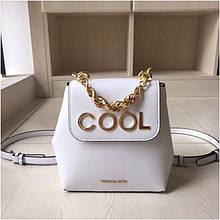 Рюкзак, портфель міні від Майкл Корс натуральна шкіра, колір білий з золотом
