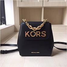Рюкзак, портфель міні від Майкл Корс натуральна шкіра, колір чорний з золотом