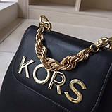 Рюкзак, портфель мини от Майкл Корс натуральная кожа, цвет черный с золотом, фото 5