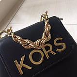 Рюкзак, портфель мини от Майкл Корс натуральная кожа, цвет черный с золотом, фото 8
