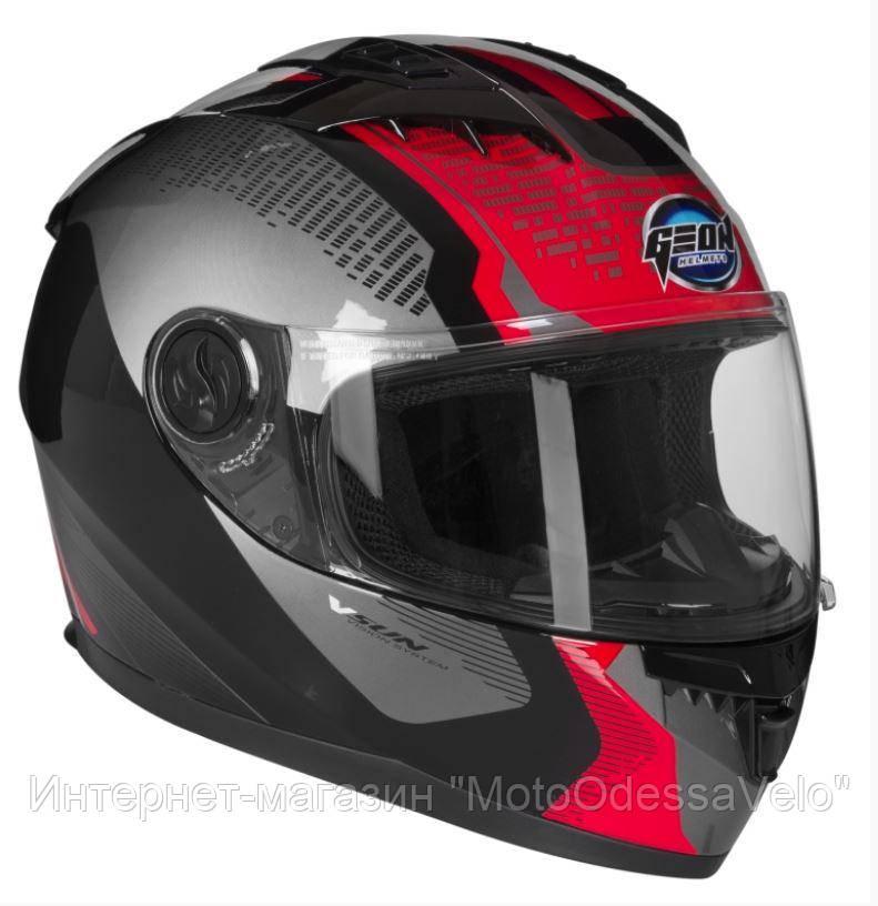Шлем GEON 968 Интеграл Stealth Black Red