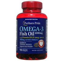 Омега 3 двойная сила, Puritans Pride, Omega-3 Double Strength 1200 мг, 90 капсул