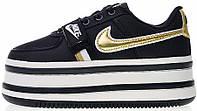 """Женские кроссовки Nike Vandal 2K """"Black/Metallic Gold"""" AO2868-002 (в стиле Найк Вандал) черные"""
