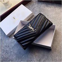Жіночий гаманець від Ів Сен Лоран натуральна шкіра, колір чорний з золотом