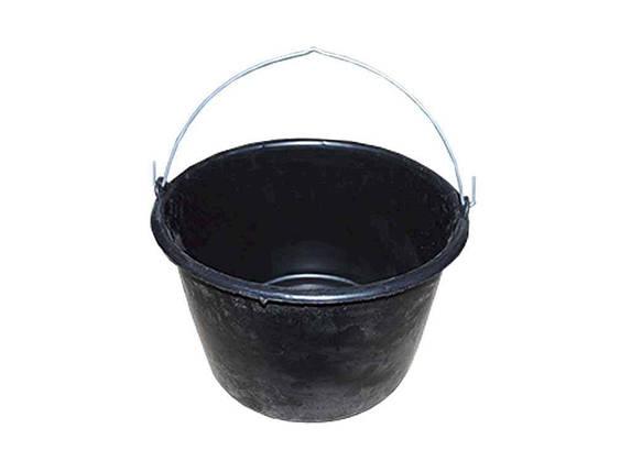 Відро пл. 16л госп. з металевою ручкою чорне ТМЗАПАДНАЯ, фото 2