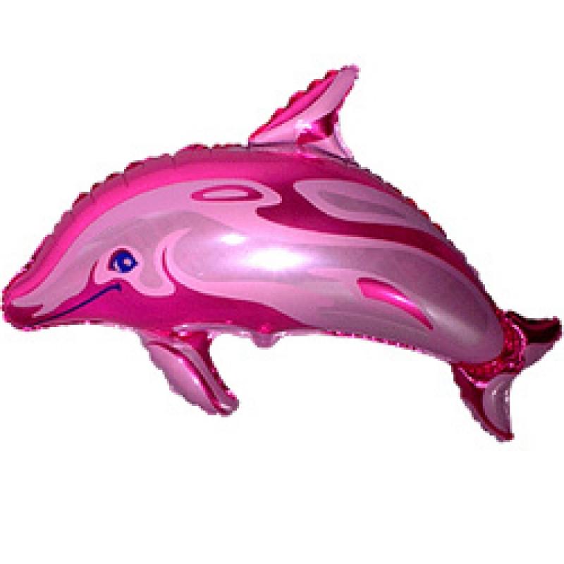 Фольгированный шар Дельфин Фуксия