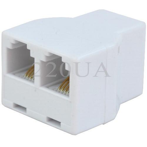 Телефонний перехідник, 1 гніздо - 2 гнізда (6р4с), білий