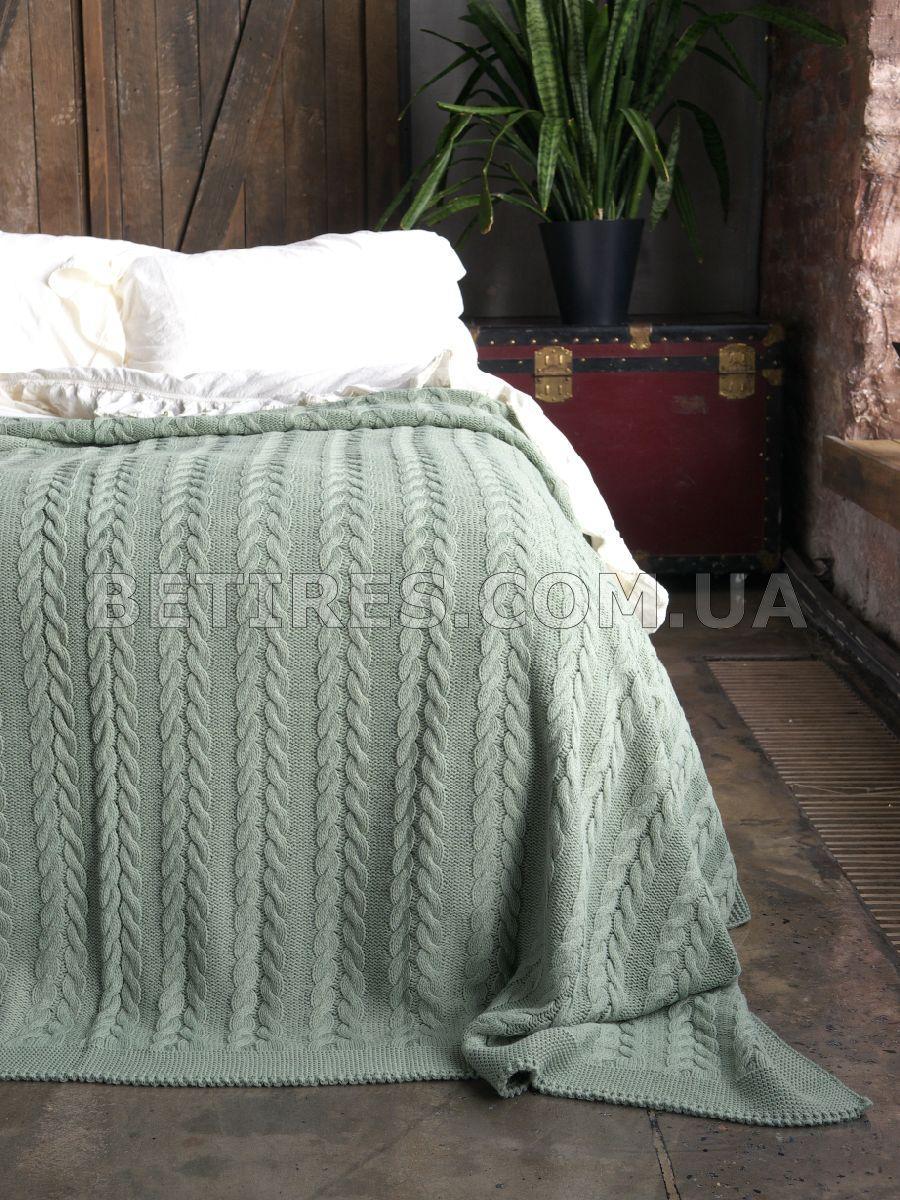 Покрывало вязаное 220x240 BETIRES BREMEN GREEN зеленое