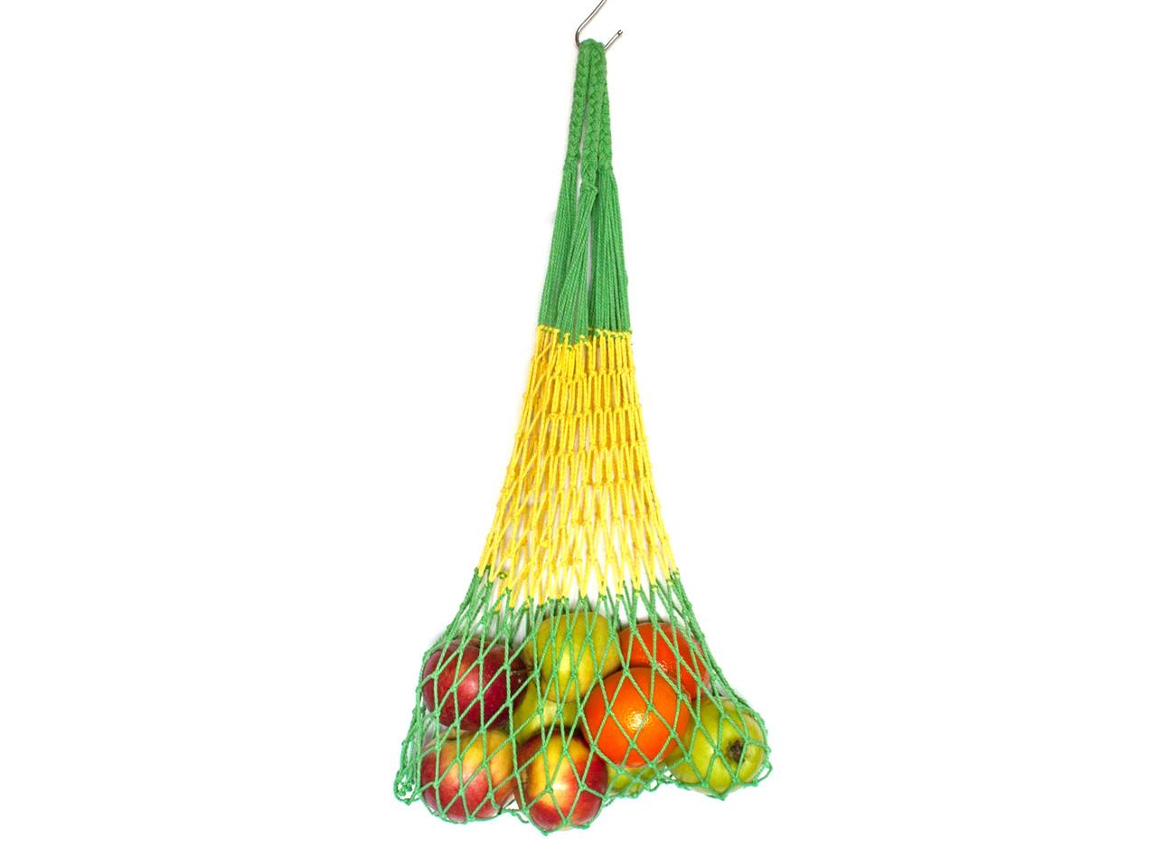 Сумка для покупок - Авоська - полосатая - зелёная-желтая