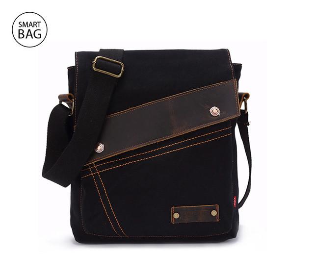 Брезентовая мужская сумка на плечо Augur | черная
