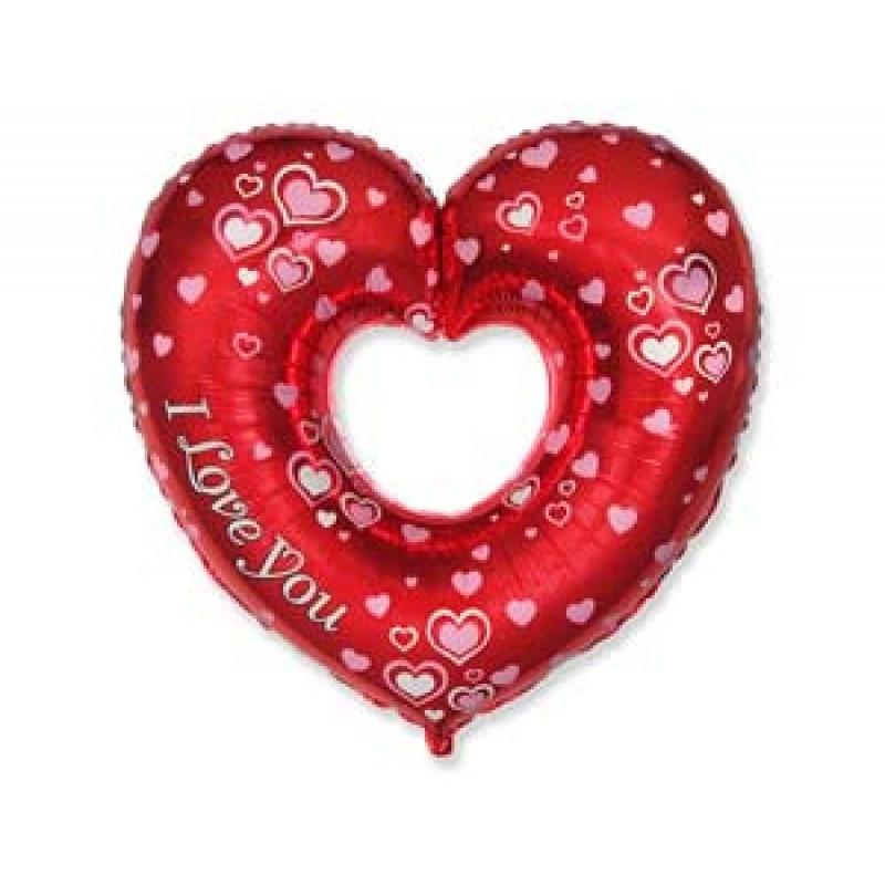"""Фольгированный шар сердце в Сердце с Рисунком, Flexmetal (Испания), 27""""/69 см x 35""""/88 см"""