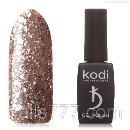 Гель лак Kodi  №01SH, с золотисто-бронзовыми блестками разной величины