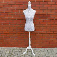 Манекен женский для одежды, тканевый, серый с узором