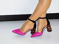 7d8f624f9 Летние туфли (босоножки) женские фуксия с леопардовым принтом на толстом  каблуке