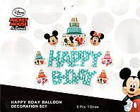 Набор шаров Happy Bday в стиле Микки Маус