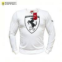 Кофта мужская в стиле Puma Ferrari White Big Logo. Свитшот, реглан мужской