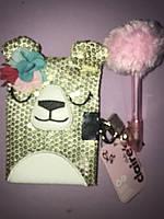 Блокнотик детский мишка с цветочком Claire s