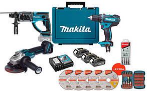 Набор аккумуляторного инструмента Makita DLXMUA504X + 3 акб + з/у + кейс + 5 дисков + набор бит + 5 буров