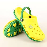 Кроксы, сабо желтые / зеленая подошва. Размеры 39, 40, 41, 42, 43, 44, 45, 46. JoAm 116104.