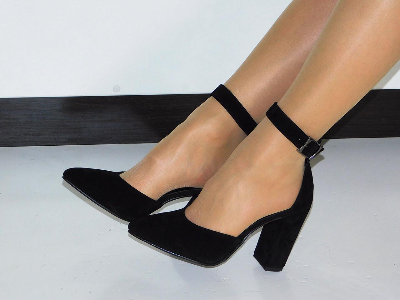 642f7fbe7 Летние туфли (босоножки) женские черные из натуральной замши на толстом  каблуке - магазин женской