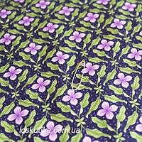38017 Цветок сирени (темный фон). Ткань хлопковая с цветочным принтом. Ткани для шитья и рукоделия.