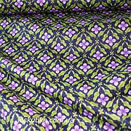 38017 Цветок сирени (темный фон). Ткань хлопковая с цветочным принтом. Ткани для шитья и рукоделия., фото 2