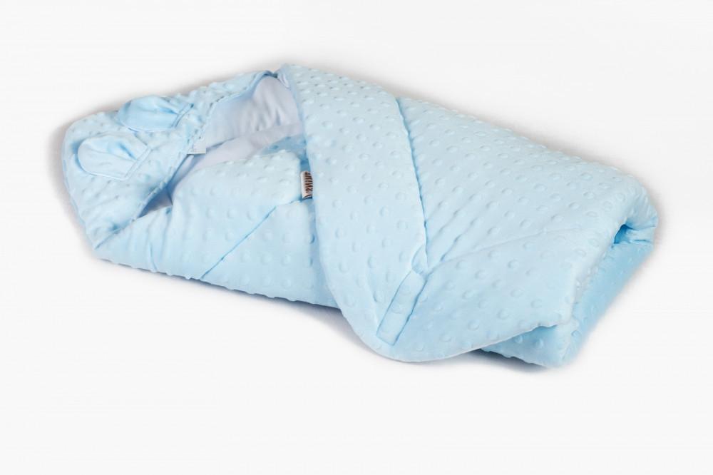 Плед - конверт Twins Minky Ушки 80х80 blue голубой /силикон/ цвета в ассортименте