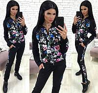 Женский прогулочный костюм с цветами. Чёрный, 4 цвета.