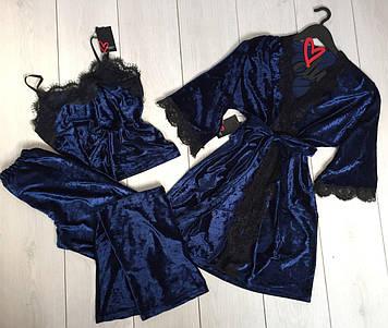 Пижама велюровая и халат с кружевом