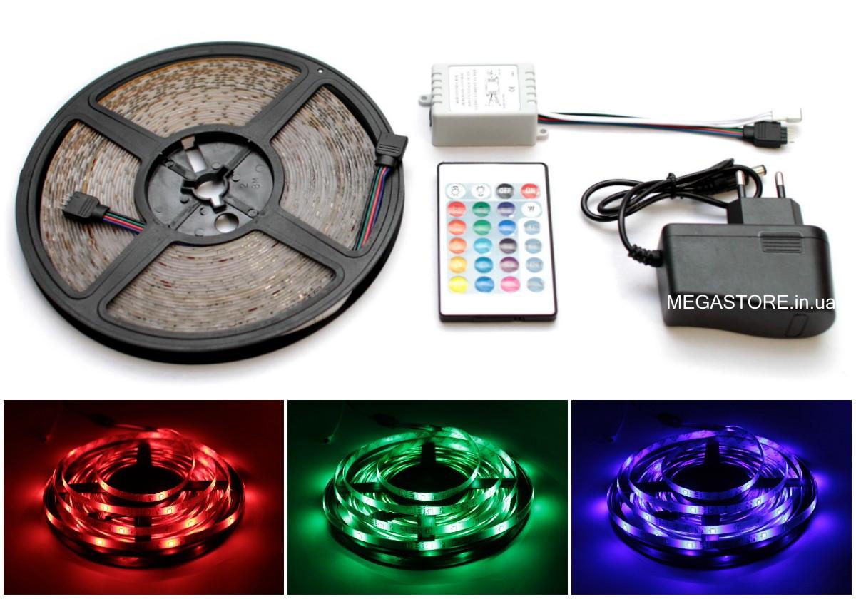 RGB светодиодная лента влагозащищенная комплект (набор) RGB LED strip 2835 SMD 10м