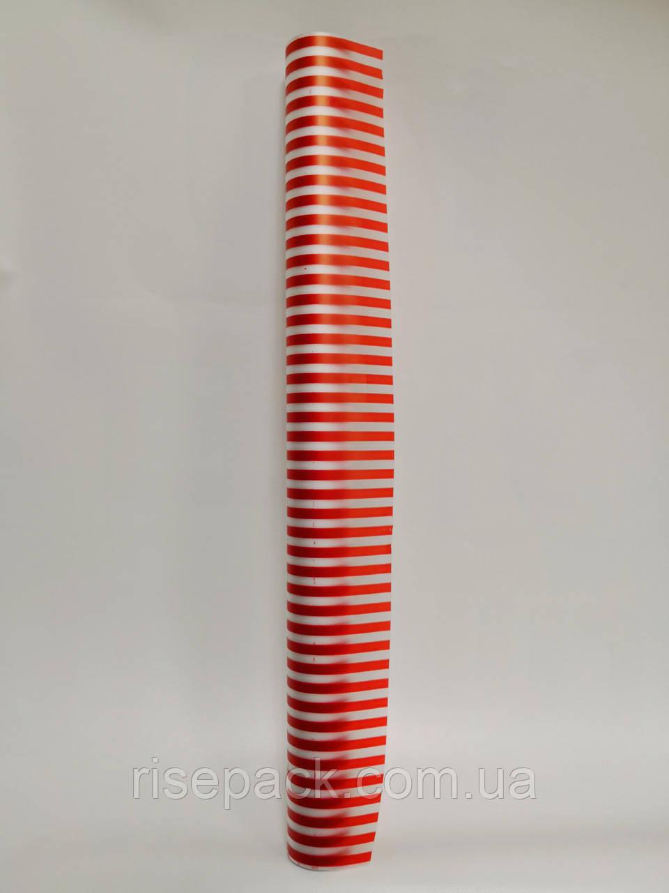 Пленка для упаковки подарков ПОЛОСА красная рулон 0,6х10м