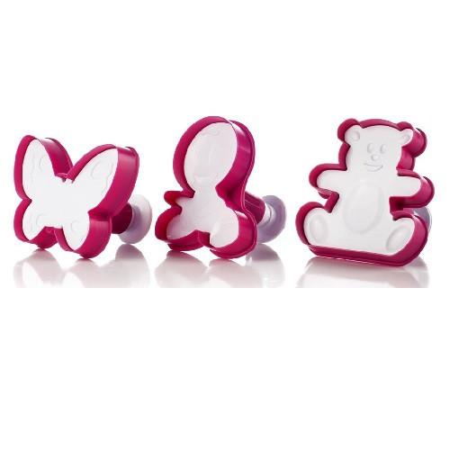 Формы для печенья, 3 штуки, пластик, розовый