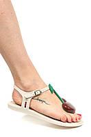 """Женские оригинальные стильные бежевые пахнущие босоножки """"Solar IV""""  бразильского бренда Melissa, фото 1"""