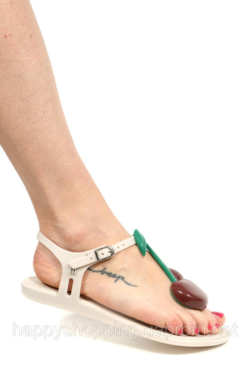 """Женские оригинальные стильные бежевые пахнущие босоножки """"Solar IV""""  бразильского бренда Melissa"""