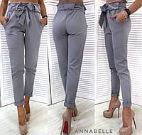 Женские модные брюки с поясом. Серый, 5 цветов.