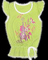 Детская футболка для девочки р. 98 ткань КУЛИР-ПИНЬЕ 100% хлопок ТМ Ромашка 1721 Зеленый