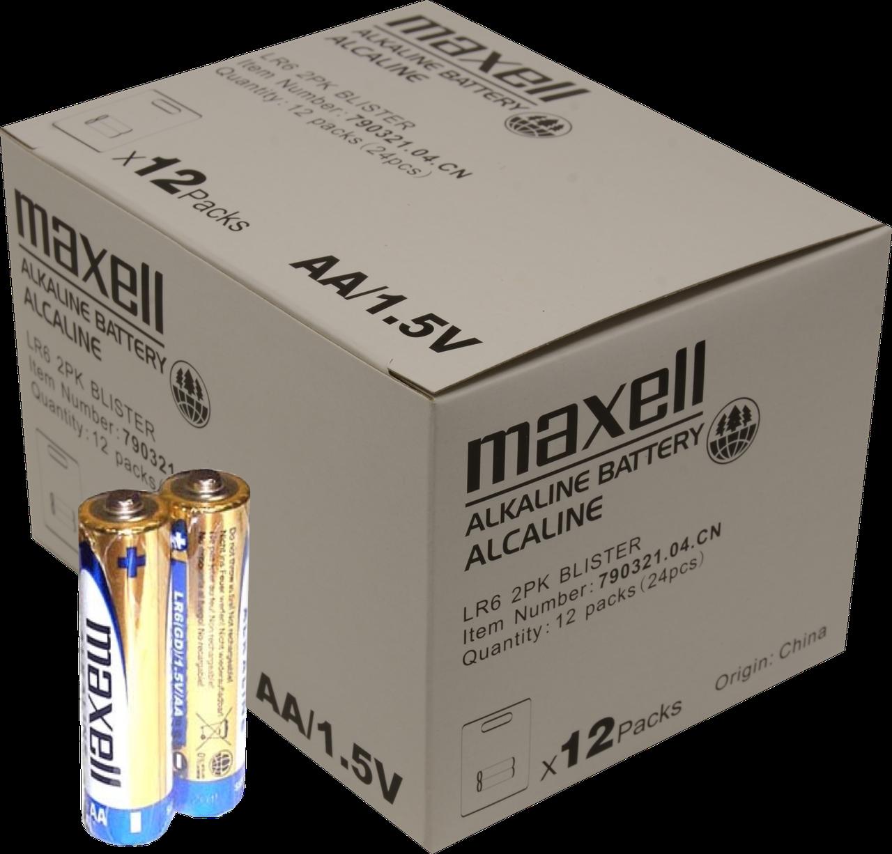 Алкалайнова батарейка АА Maxell LR6 2 шт. BLISTER(8 грн 95 коп за 1 шт./215 грн за 24 шт.)