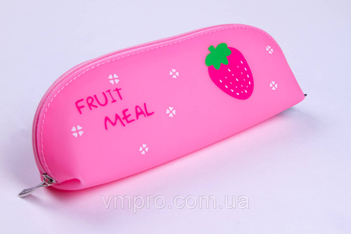 """Пенал-косметичка №1571 """"Fruit meal"""",1 відділення, силікон NEW, пенали для школи"""