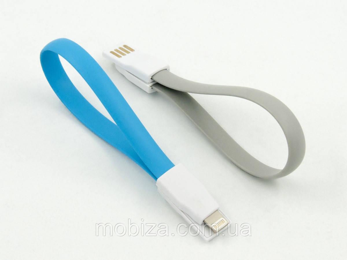 Кабель DENGOS заряду та синхронізації USB 2.0, lightning (плаский, сірий, 22 см)(KR-002-GREY)