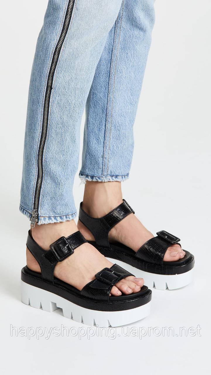 Женские стильные черные кожаные босоножки на платформе Kendall+Kylie