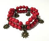 Браслет Коралловый двойной, натуральный камень, цвет красный, бронза, тм Satori \ Sb - 0001, фото 4