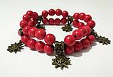 Браслет Коралловый двойной, натуральный камень, цвет красный, бронза, тм Satori \ Sb - 0001, фото 2