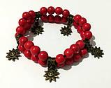 Браслет Коралловый двойной, натуральный камень, цвет красный, бронза, тм Satori \ Sb - 0001, фото 3