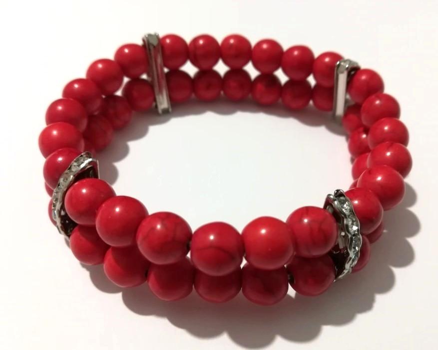 Браслет Коралл двойной, натуральный камень, цвет красный, тм Satori \ Sb - 0002