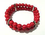 Браслет Коралл двойной, натуральный камень, цвет красный, тм Satori \ Sb - 0002, фото 3