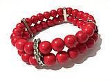 Браслет Коралл двойной, натуральный камень, цвет красный, тм Satori \ Sb - 0002, фото 2