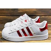 Женские кроссовки Adidas Superstar Iridescent белые с красным р.36 Акция  -48%! 85370549e805e