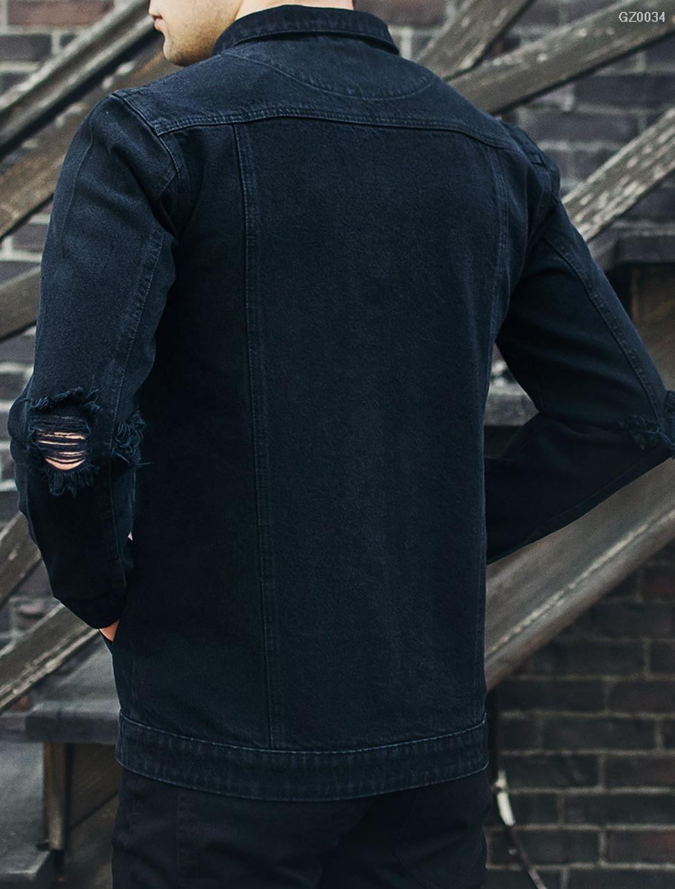 c09c6895ba3 Джинсовая куртка Staff black destroy