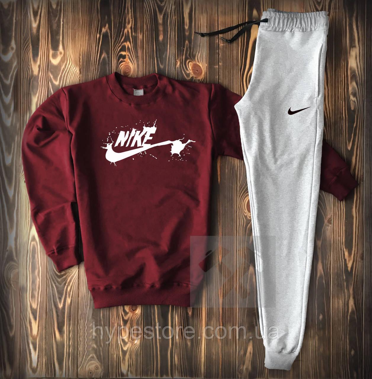 Мужской весенний спортивный костюм, чоловічий костюм Nike, найк (бордо+серый), Реплика