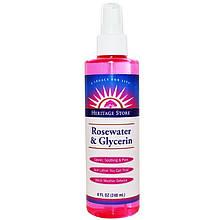 """Лосьон-спрей для кожи Heritage Store """"Rosewater & Glycerin"""" розовая вода и глицерин (240 мл)"""